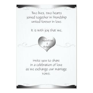 Wedding Invitation-Heart and Swirl Gradient Silver Card