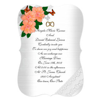 "Wedding invitation hibiscus and butterflies 5"" x 7"" invitation card"