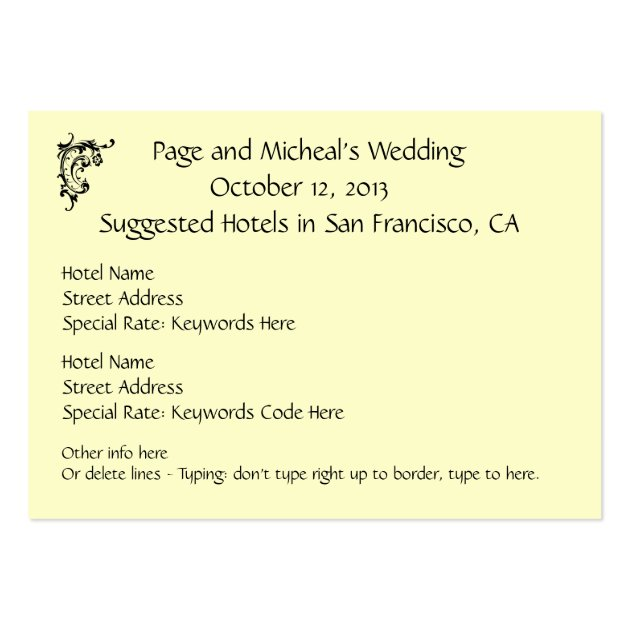 Wedding invitation hotel reservation suggestion large for Wedding invitations packs of 100