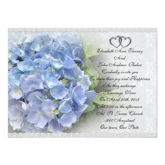 """Wedding invitation Hydrangea and Lace 5.5"""" X 7.5"""" Invitation Card"""