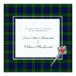 Wedding Invitation in Black Watch Tartan Plaid
