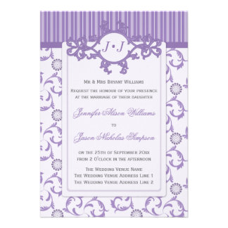 Wedding Invitation in Lavender with Ornate Pattern