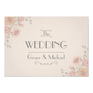 Wedding Invitation in Postcard Style Flowers