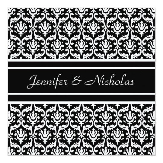 Wedding Invitation in Stylish Black & White Damask
