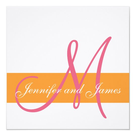 Wedding Invitation Initial Orange Honeysuckle Pink