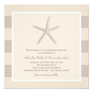 "Wedding Invitation | Ivory Starfish Stripes 5.25"" Square Invitation Card"