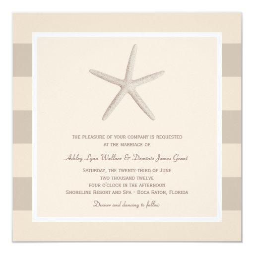 Wedding Invitation   Ivory Starfish Stripes