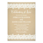 "Wedding Invitation | Lace and Kraft 5"" X 7"" Invitation Card"