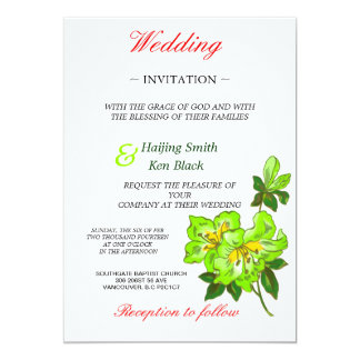 Wedding Invitation Lime Orchid Wedding Flowers