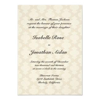 "Wedding invitation - Linen with damask waves 5"" X 7"" Invitation Card"