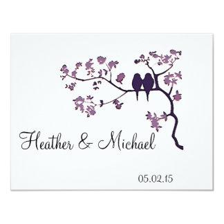 Wedding invitation - lovebirds on a tree