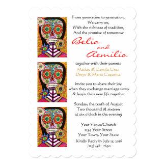 Wedding Invitation Mexican Woman Pink Sugar Skull