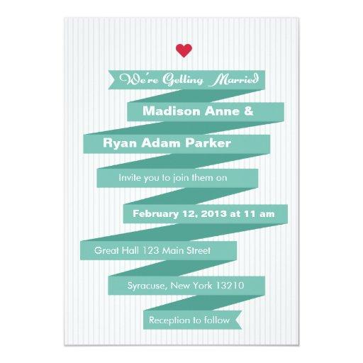 "Wedding Invitation Modern Ribbon Collection 5"" X 7"" Invitation Card"