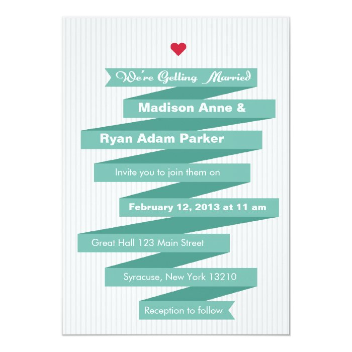 Wedding Invitation Modern Ribbon Collection