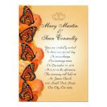 "Wedding Invitation Monarch Butterflies 5"" X 7"" Invitation Card"