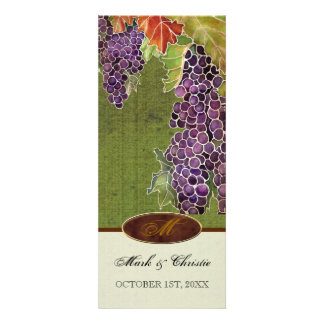 Wedding Invitation Monogram Autumn Grape Leaf
