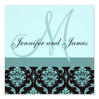 "Wedding Invitation Monogram Blue Damask 5.25"" Square Invitation Card"