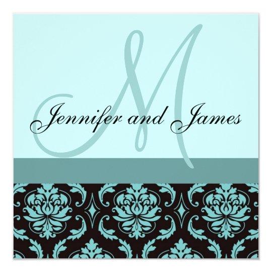 Wedding Invitation Monogram Blue Damask