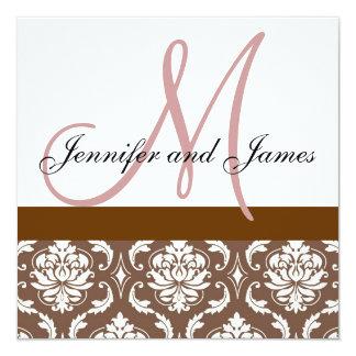 "Wedding Invitation Monogram Brown Pink Damask 5.25"" Square Invitation Card"