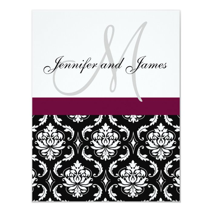 Wedding Invitation Monogram Burgundy Black Damask