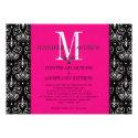 Wedding Invitation Monogram Chandelier Hot Pink