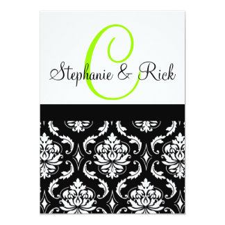 Wedding Invitation Monogram Damask Black
