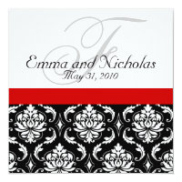 Wedding Invitation Monogram Damask Red Back View