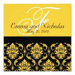Wedding Invitation Monogram Damask Yellow Back