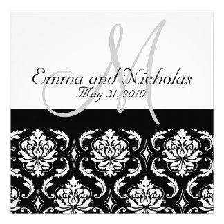 Wedding Invitation Monogram M Damask Black White