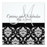 Wedding Invitation Monogram M Damask Black & White