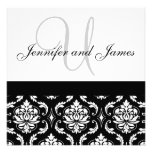 Wedding Invitation Monogram Names Black Damask