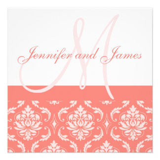 Wedding Invitation Monogram Names Coral Damask