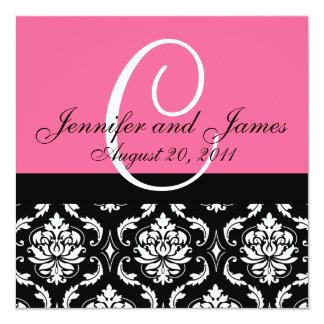 "Wedding Invitation Monogram Names Date Pink Damask 5.25"" Square Invitation Card"