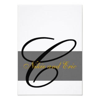 Wedding Invitation Monogram Names Gold Black Gray