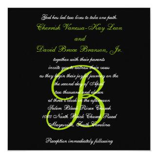 Wedding Invitation Monogram Names Green