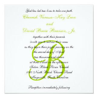 Wedding Invitation Monogram Names Green 2
