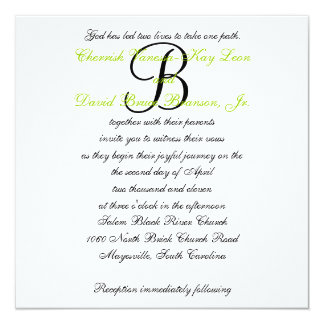 Wedding Invitation Monogram Names Green 3
