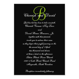 Wedding Invitation Monogram Names Green 4