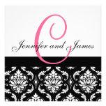 Wedding Invitation Monogram Names Hot Pink Damask