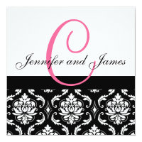Wedding Invitation Monogram Names Hot Pink Damask