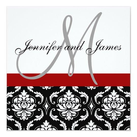 Wedding Invitation Monogram Names Hot Red Damask