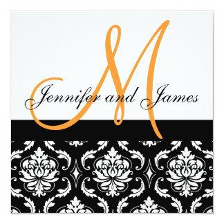"Wedding Invitation Monogram Names Orange Damask 5.25"" Square Invitation Card"