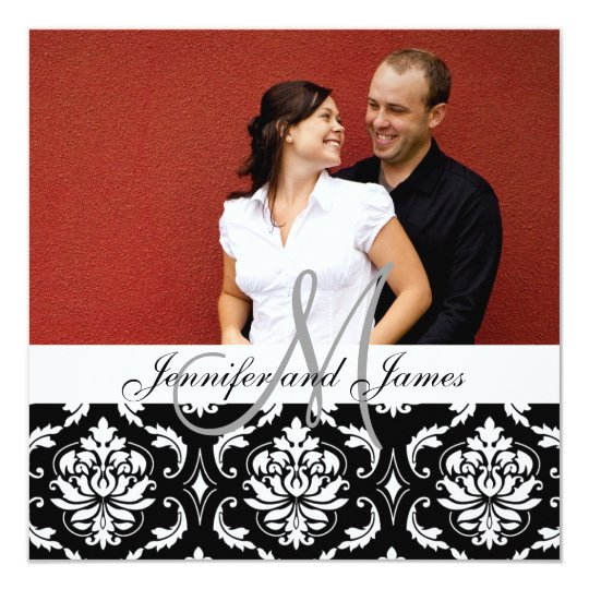 Wedding Invitation Monogram Names Photo Damask