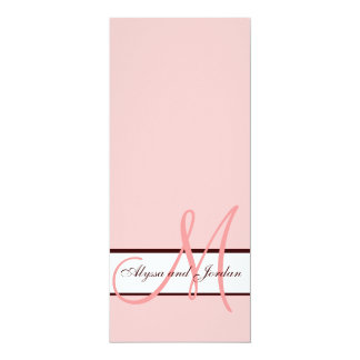 Wedding Invitation Monogram Names Pink and Brown