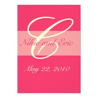 Wedding Invitation Monogram Names Pink & Ivory