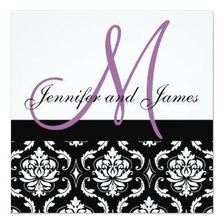 "Wedding Invitation Monogram Names Plum Damask 5.25"" Square Invitation Card"