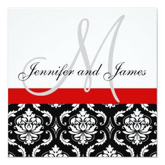 "Wedding Invitation Monogram Names Red Damask 5.25"" Square Invitation Card"
