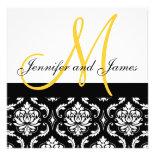 Wedding Invitation Monogram Names Yellow Damask