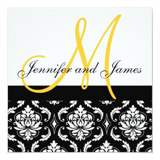 "Wedding Invitation Monogram Names Yellow Damask 5.25"" Square Invitation Card"
