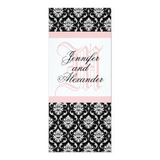 Wedding Invitation Monogram Pink & White Paisley